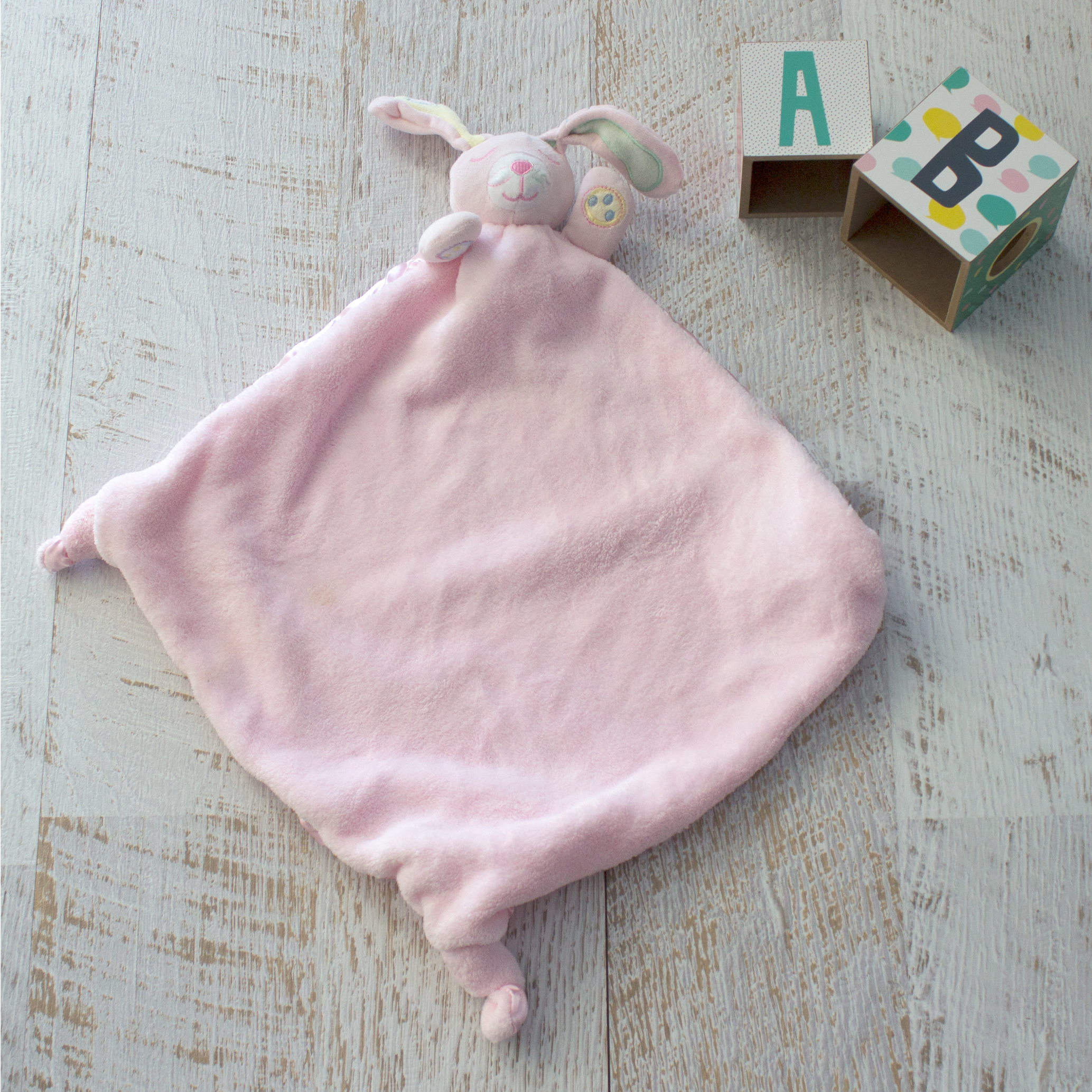 Bubba Blue Pink Bunny Security Blanket Mummy Bebe